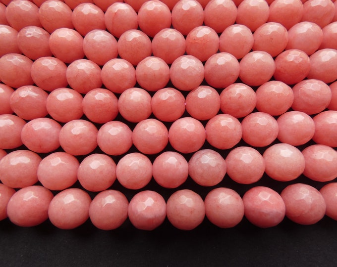 14.5 Inch 10mm Pink Natural Malaysia Jade Bead Strand, Dyed, About 37 Faceted Ball Bead, Light Pink Jade, Natural Gemstone Beads, 1mm Hole