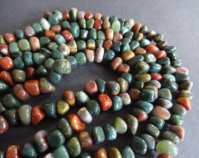 7-9mm Natural Indian Agate Beads, 72-83 Gemstone Beads, Nuggets, Agate Chips, Brown and Green, 15.7 Inch Strand, Stones, Polished, Earthy