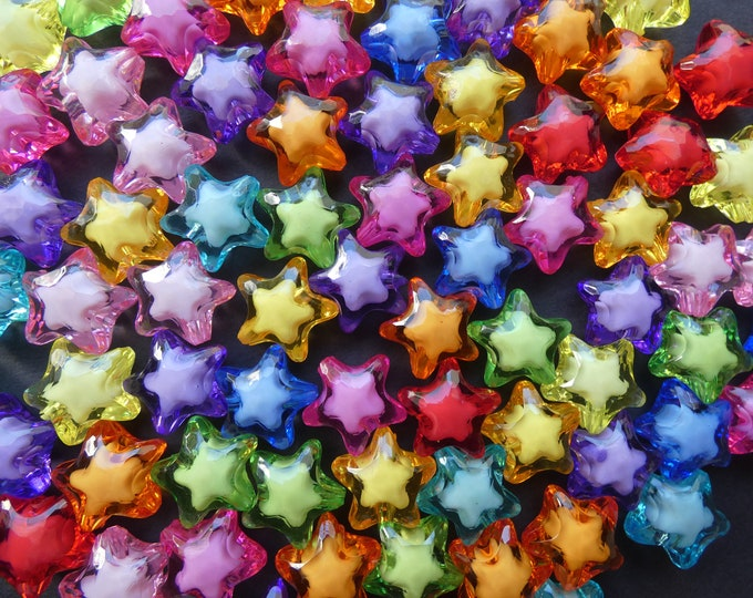 100 Pack 20mm Transparent Star Acrylic Beads, 20x18mm, Mixed Color, Rainbow Bead, Transparent Star Bead, Colorful, Faceted, 3mm Hole