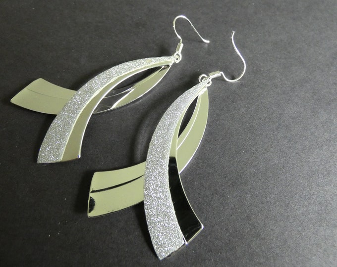 Cancer Awareness Ribbon Earrings, Silver Plated Brass Dangles, Silver, Cancer Research, Breast Cancer Survivor, Stardust Design, 77mm Long