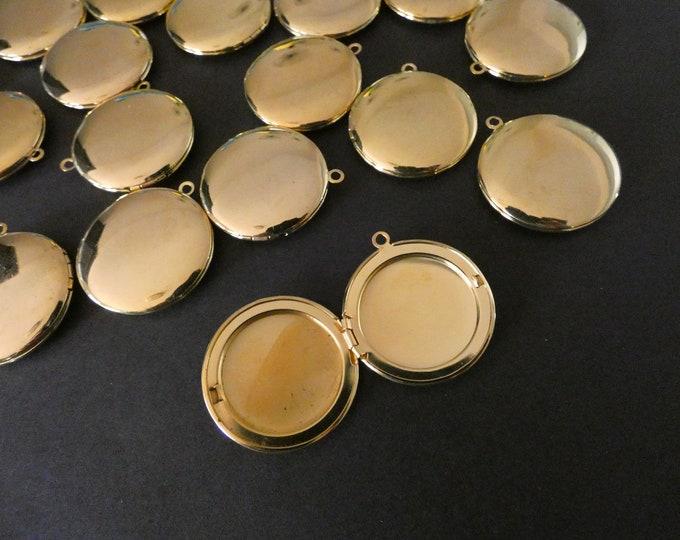 32.5mm Brass Locket Pendant, Gold Circle Pendant, Flat Round, Custom Jewelry Making, DIY Basic Photo Locket Charms, Shiny Golden Charm