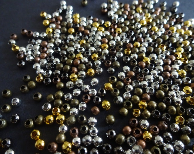 3mm Round Iron Spacer Beads, Ball Beads, Metal Spacers, 5 Colors, Mixed Lot, Jewelry Making, Small, Basic, Classic, Lot of Beads, Metallic