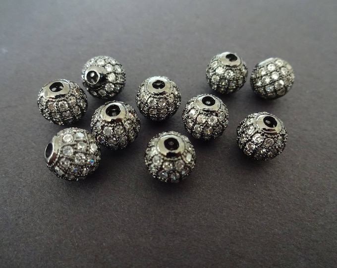 8mm Cubic Zirconia Micro Pave Brass Beads, Bright Cubic Zirconia Round Beads, Cubic Zirconia Ball Beads, 8mm Round Beads, Round Bead