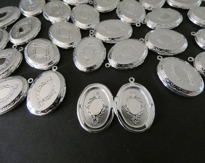 33.5mm Brass Locket Pendant, Silver Oval Pendant, Engraved Patterning, Custom Jewelry Making, DIY Basic Photo Locket Charms, 1.5mm Hole