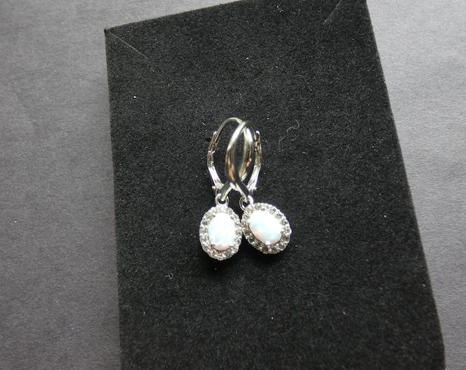 Sterling Silver & Natural Opal and Topaz Earrings, Dangles, Women's Stone Jewelry, White Gemstones, Opalescent, Rhinestones, Drop Earrings