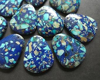 Drilled Gemstone,Light Blue Polished Gem Designer Cab Pendant 40.5mm Regalite Pendant Large Regalite Teardrops 1.2mm Hole