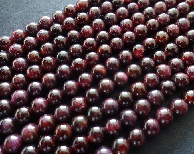 4mm Natural Garnet Bead Strand, Ball Bead, Round Stone Beads, 15.5 Inch, About 96 Beads, Deep Red Garnets, January Birthstone, High Grade