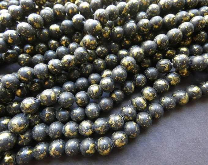 31 Inch 8mm Baked Glass Bead Strand, 8mm Ball Beads, Dyed, About 100 Beads Per Strand, Black and Gold, Metallic, 1mm Hole, Painted, Round