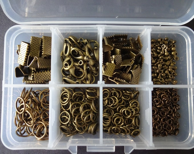 Mixed Jewelry Making Finding Kit, Bronze Color Metal Findings, Jump Rings, Lobster Claw Clasps, Mixed Lot, With Organizer