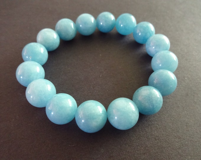Natural Aquamarine Stretch Bracelet, Handcrafted, Light Blue 12mm Ball Beads, Semi Transparent, Stretchy Cord, March Birthstone Jewelry