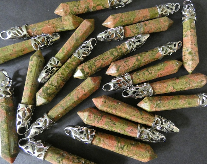 58-66mm Natural Unakite Pendant With Brass, Faceted, Bullet Shaped, Polished Gem, Gemstone Jewelry, Green & Pink and Silver Metal, Floral