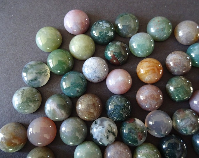 2 Pack 10mm Natural Indian Agate Gemstone Cabochon, Round Cabochon, Polished Gem Stone, Natural Gemstone, Dome Agate Gemstone, Set Of 2