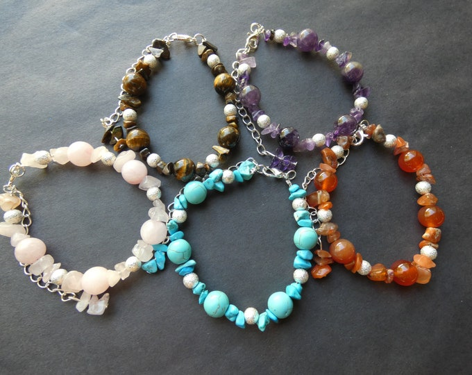 Natural Gemstone Chip Bracelet, 7 Colors, Handcrafted Stone & Brass Bracelet, One Size Fits Most, Amethyst, Carnelian, Quartz and More!