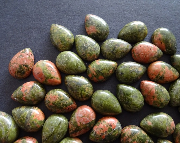 13-14mm Natural Unakite Teardrop Cabochon, Tear Drop Cabochon, Polished Gem Stone, Natural Gemstone, Green and Pink Stone, Polished Gem