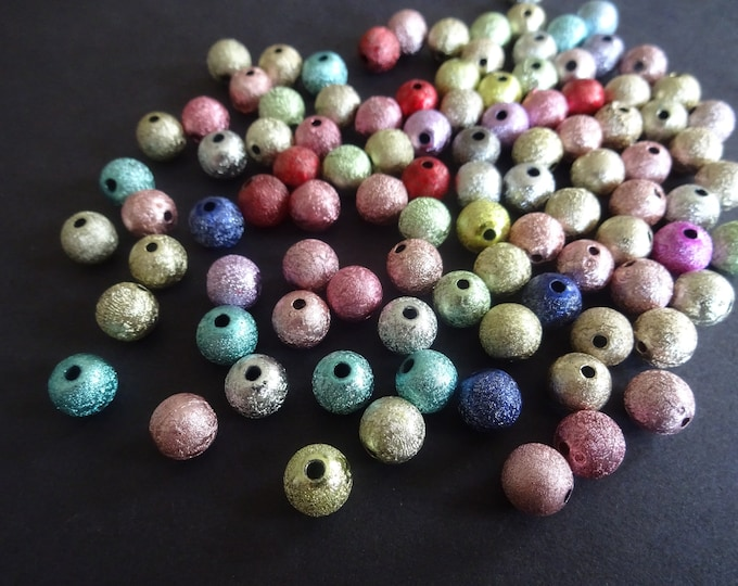 8mm Spray Painted Acrylic Beads, 8mm Round Bead, Textured Bead, Matte Style, Mixed Color, Shiny, Multicolor, Rainbow, Metallic, Pastel