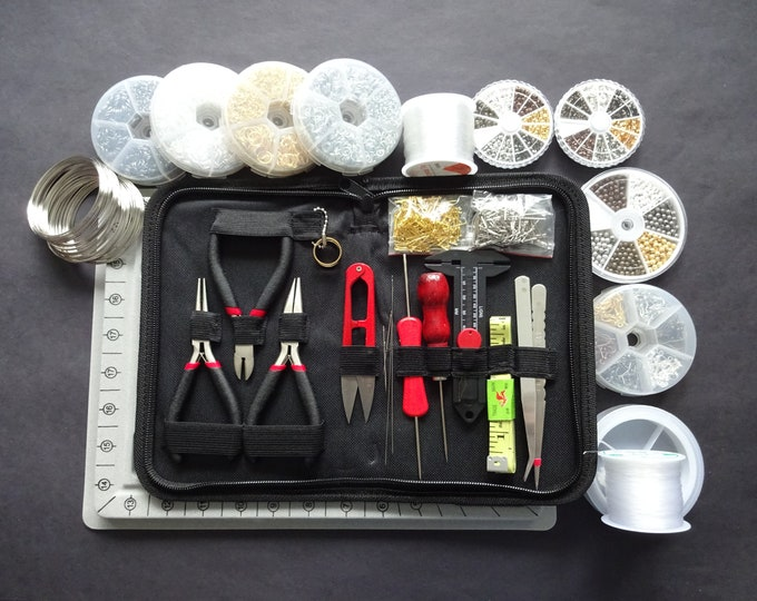 Deluxe Jewelry Making Set, 28 Piece Set With Tools, Findings, Beads, Cords and Design Board, Premium Jewelry Kit