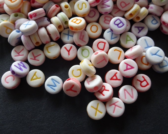 7mm Rainbow Alphabet Beads, Round Letter Bead, Friendship Bracelet, Monogram Jewelry, Rainbow Mixed Color, Mixed Lot, Perfect For Crafts