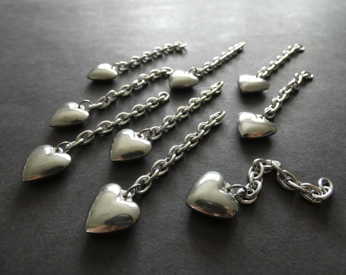 68x6mm 304 Stainless Steel Extender Chain With Heart Charm, 1.5mm Thick, 15mm Steel Heart, Silver Color, Valentine's Day, Jewelry Extenders