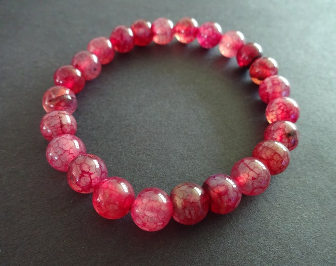 Natural Dragon Veins Agate Stretch Bracelet, Dyed, 8mm Ball Beads, Red Semi Transparent, Stretchy Cord, Beautiful Red Agate With Veins