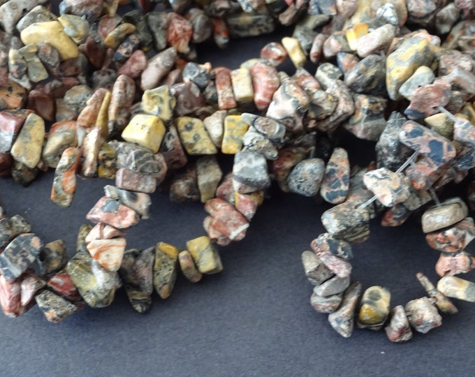 15 Inch Strand Natural Leopardskin Jasper Chip Bead Strand, 4-7mm Jasper Chips, About 106 Beads Per Strand, Brown Stone Bead, Neutral Colors
