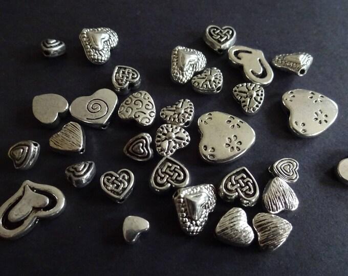 4-30mm Tibetan Style Heart Beads, Bead Mix, Metal Beads, Heart Mix, Heart Bead Mix, Mixed Lot, Metal Hearts, Antique Bead, Bead Lot