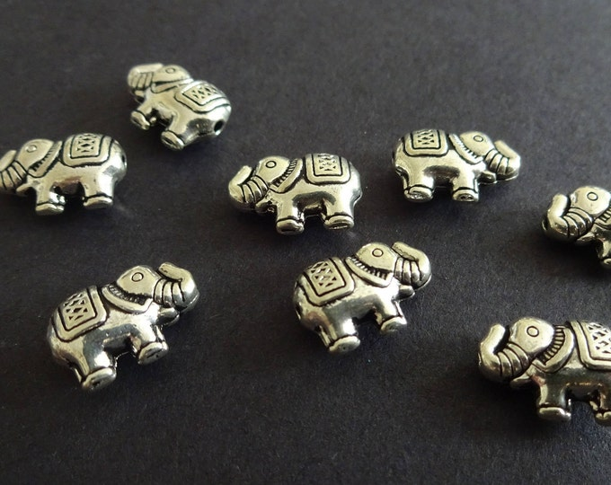 12x8.5mm Metal Silver Elephant Bead, Tibetan Silver, Antique Silver Color, Carved Elephant, Etched, Metal Spacer, Indian Metal Bead, Animal