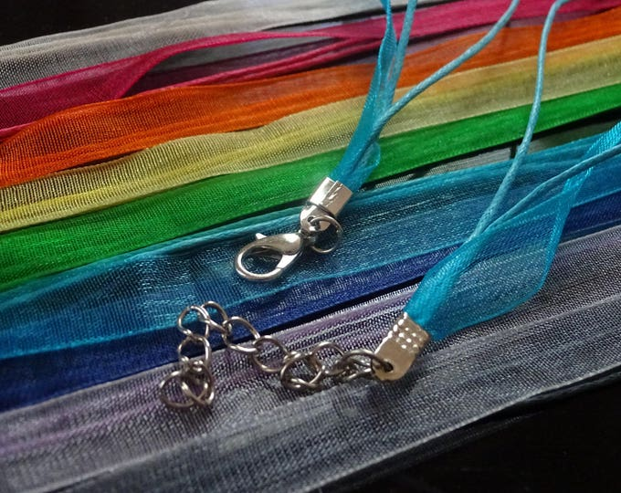 Pack of Mixed Organza Necklace Cord, 17 inch Necklace with Stainless Steel Clasp, Lobster Clasp, Thread Wax Cord with Organza Embellishment