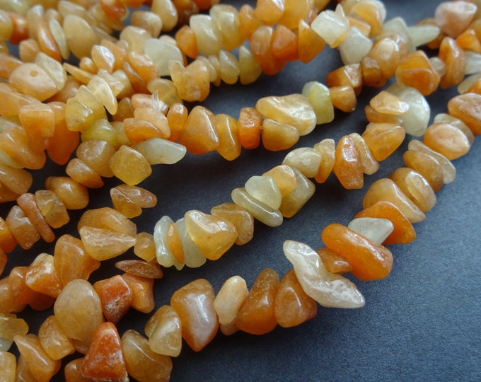 34 Inch Strand Natural Red Aventurine Chip Bead Strand, 8-9mm Nuggets, About 275 Chips Per Strand, Red-Orange, Stone Bead, Red Gemstone