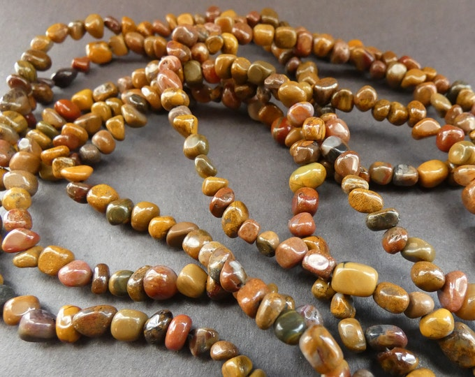 15.5 Inch 3-5mm Natural Petrified Wood Bead Strand, About 82 Polished Drilled Chips, Brown Wooden Nugget Beads, Drilled Fossilized Wood