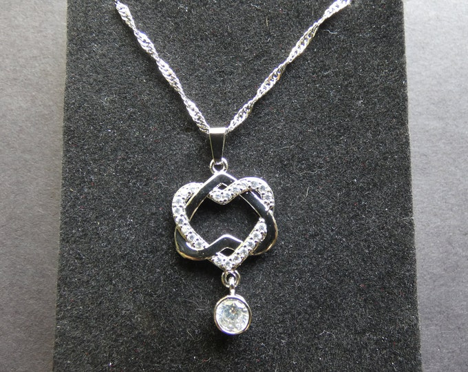 18kt White Gold & Cubic Zirconia Hexagon Necklace, Lobster Claw Clasp, Heart Necklace, White Gemstones, Opalescent, Rhinestones, Diamonique
