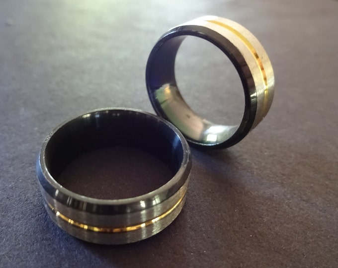 Stainless Steel Ring With Gold Color Inlay Band, Silver and Black Steel Ring, Ring, Silver Stainless Steel Ring, Metal Ring, Unisex Ring