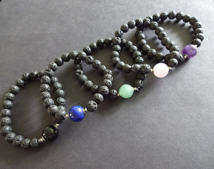 Natural Lava Stone and Faceted Gemstone Stretch Bracelet, 3 Colors, 9-12mm Stone Ball Beads, Black With Natural Gemstone, Stretchy