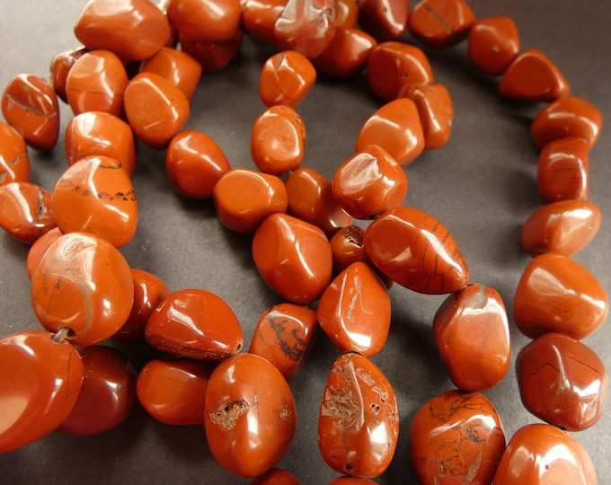 15 Inch 14-24mm Natural Red Jasper Bead Strand, About 22-23 Polished Drilled Chips, Jasper Nugget Chip Beads, Drilled  Polished Jasper