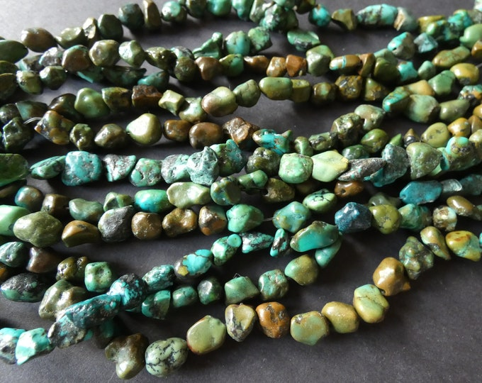 15-16 Inch 1-15mm Natural Turquoise Bead Strand, Dyed, About 45 Beads, Nugget Bead, Turquoise Mineral Gemstones, Authentic Turquoise Stones