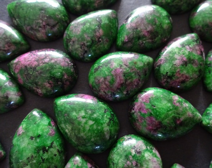 25mm Natural Ruby in Zoisite Teardrop Cabochon, Green and Purple Crystal, Polished Drop Gem, Stone Cabochon, Natural Gemstone, Deep Green