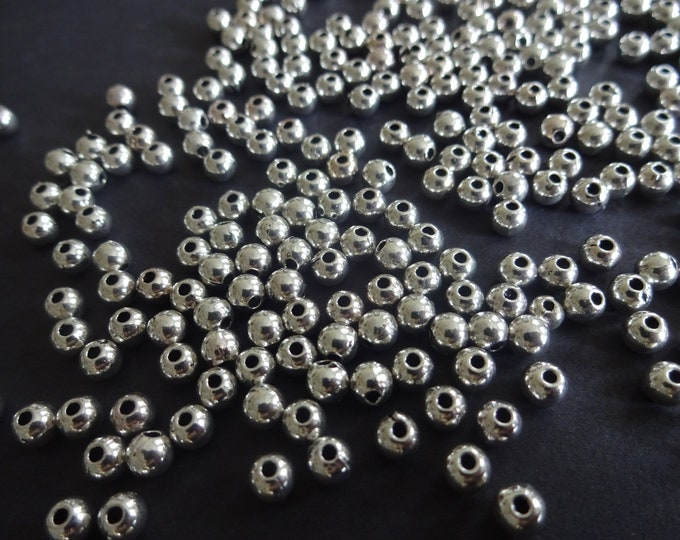 4mm Ball Beads, Tibetan Metal Spacers, Silver Color, 1mm Hole, Classic Round Beads, Jewelry Making Supply, Metallic, Modern Style, Balls