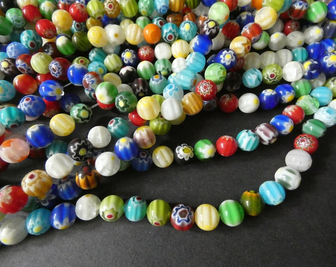 14 Inch 8mm Glass Millefiori Bead Strand, About 48 Glass Ball Beads, Mixed Lot, Multicolor Bead, Flower Bead, Large Ball Bead, 1mm Hole