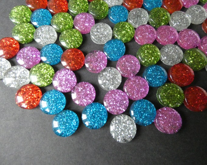 13.5-14mm Glittery Resin Cabochon, Flat Round Cabochon, Mixed Color Cab Set, Bright Colorful Jewelry Cabs, Glitter Cabochon, Undrilled