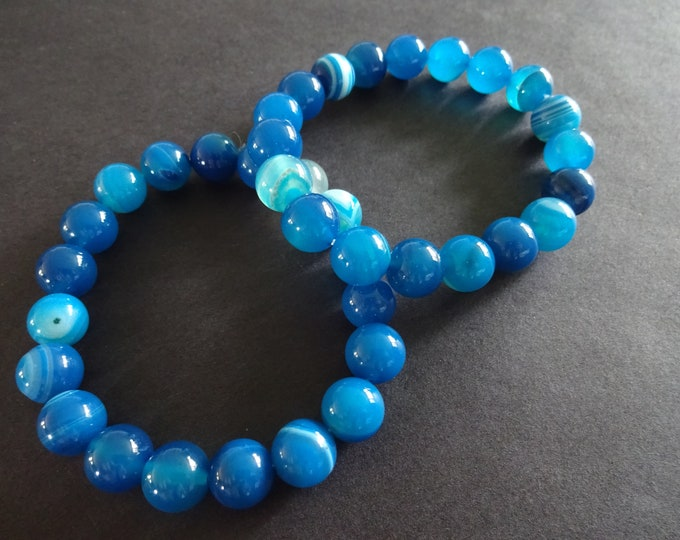 Natural Striped Agate Teal Stretch Bracelet, Dyed, 10mm Ball Beads, Teal Blue Semi Transparent, Stretchy Cord,  Stone Jewelry