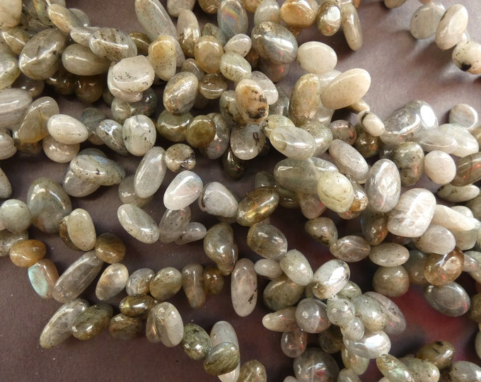 16 Inch Strand 7-22mm Natural Labradorite Beads, About 52 Beads, Gray Stone Nuggets and Chips, Translucent Labradorite Pebbles, Drilled