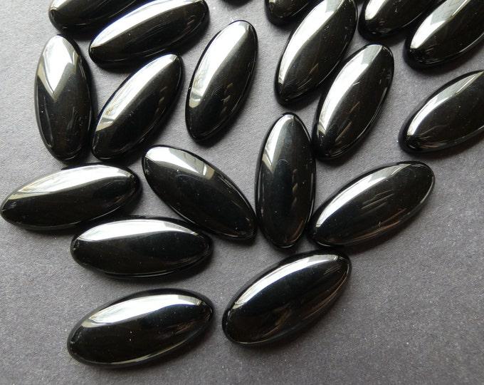 27x12mm Natural Black Obsidian Cabochon, Horse Eye Gemstone Cabochon, Polished Gem, Solid Black, Beautiful Stone, Unique Gemstone, Jewelry
