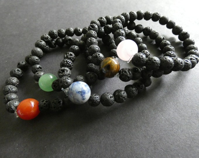Natural Lava Stone and Gemstone Stretch Bracelet, 5 Colors, 6-10mm Stone Ball Beads, Black With Natural Gemstone Center Piece, Stretchy