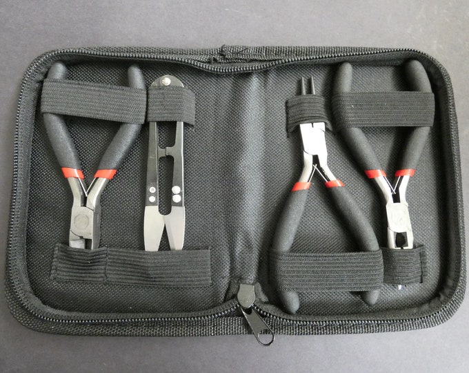 4 Pack Of Steel Jewelry Making Tools With Case, Wire Cutters, Round Nose Pliers, Side Cutting Pliers and Scissors, Set Of Pliers, Tool Kit