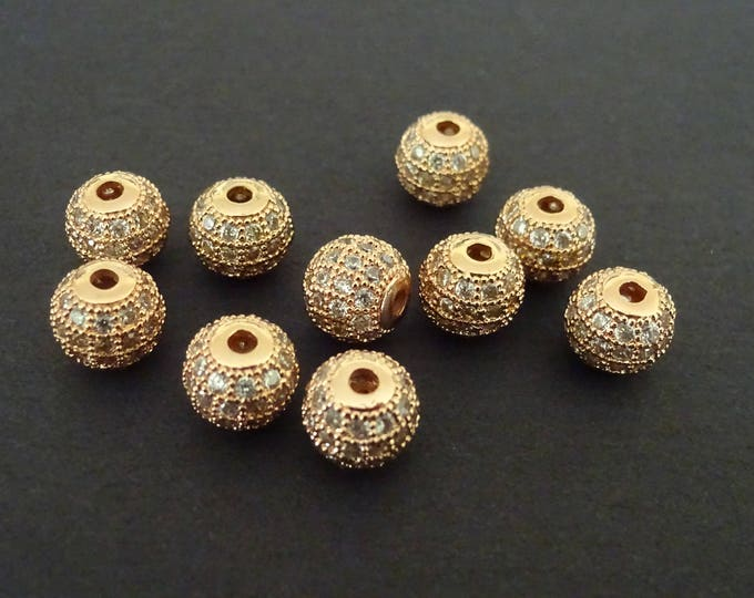 8mm Cubic Zirconia Rose Gold Color Pave Beads, Brass Cubic Zirconia Round Beads, Cubic Zirconia Ball Beads, 8mm Beads, CZ Bead, Rhinestone