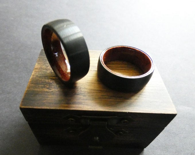 Matte Silver Tungsten and Wood Ring, Brazilian Rose Wood Band, Brushed Tungsten Carbride Ring, 8mm Tungsten Metal Ring, Mens Ring, Free Box