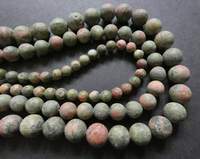 15.5 Inch 6-10mm Natural Unakite Bead Strand, About 36-63 Frosted Stone Ball Beads, Unfinished Gemstone,  Drilled Green and Pink Bead