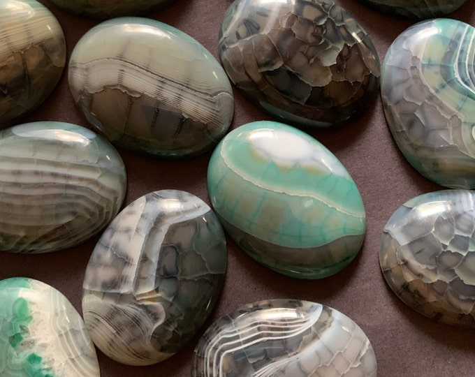 40x30mm Natural Dragon Veins Agate Gemstone Cabochon, Dyed, Oval Cabochon, Polished Gem  Black & Teal Cab, Natural Gemstone, Agate Stone