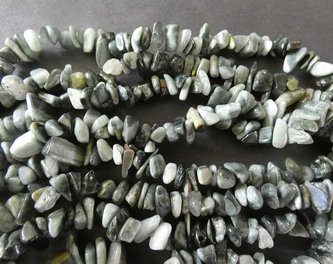33 Inch Natural Eagle Eye Quartz Bead Strand, Quartz Chip Gemstones, Natural Polished Drilled Chips, Pieces of Quartz, Gray, Healing Stone