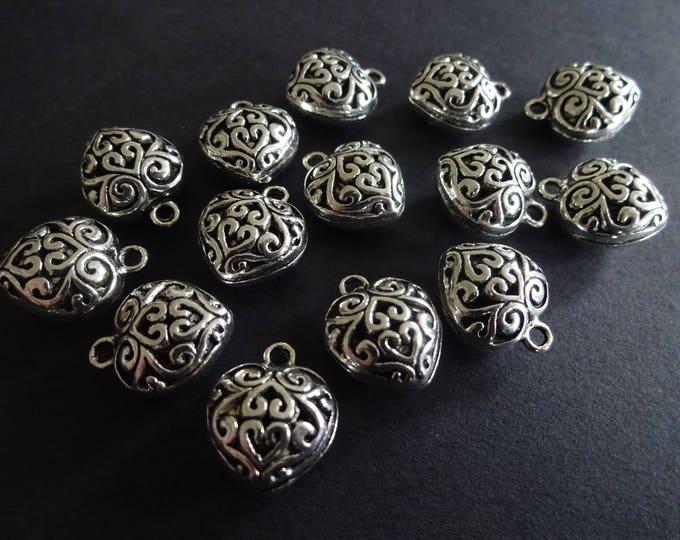 16mm Alloy Metal Heart Pendant, Antiqued Tibetan Style Silver Color Heart, Valentines Pendant, Metal Hearts, Heart Charm, Metal Pendant