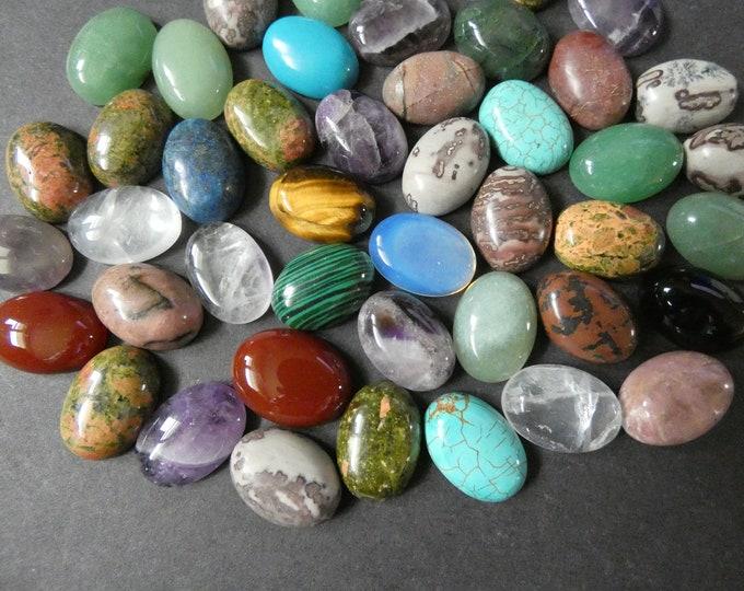 5 Pack 18x13mm Mixed Lot Gemstone Cabochons, Oval Cabochon, Polished, Stone Cabochon, Natural Gemstone, Lapis, Amethyst, Jasper & More